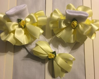 Girls yellow organza and yellow ribbon ruffle trim