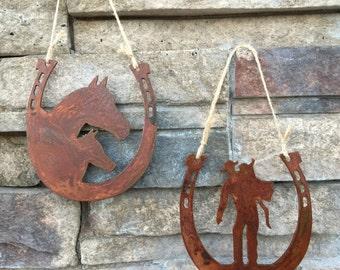 Horseshoe Rustic Cowboy and Horse Steel Ornaments, Set of 2