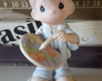 Precious Moments Figurine You Color My World With Loving Caring And Sharing, precious moments, painter, artist, free shipping