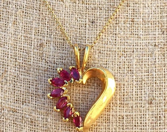 SALE! 14K Gold Ruby Heart Necklace