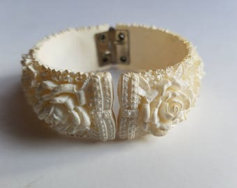 Vintage White Floral Carved Celluloid Hinged Bracelet