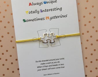 Autism Awareness Wish String Bracelet with Tibetan silver Jigsaw Charm