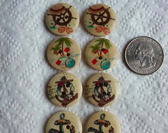 Nautical Motif Wood Buttons