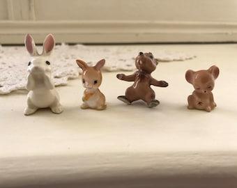 Vintage Hagen Renaker Figurines Set of 4 White Rabbit, Chipmunk, Brown Bunny and Sleeping Mouse