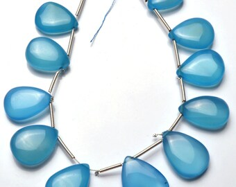 1  Full Stand 6.5 Inch Long Strand,Superb Sky Blue Color CHALCEDONY  Smooth Heart Shape Beads Briolettes 9 TO 12 MM size