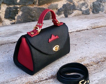 mini  handbag black and red