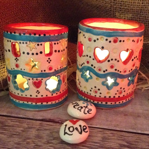 Handmade ceramic tealight holder, vintagey, richly coloured and patterned, folk-art look, unique