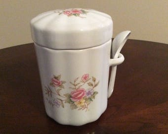 Appealing! A Porcelain Floral Tea/Sugar/Coffee Canister with Spoon, FTDA.