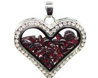 Garnet Glass box frame heart-shaped diamond crystal pendant, Wholesale Crystal Locket Supply,35x30mm,BC1-49