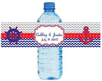 Nautical red and blue Wedding Anniversary Bridal Shower Water Bottle Labels Great for Engagement Party baby shower birthday