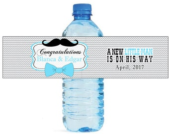 Bow Ties and Mustaches Baby Shower Water Bottle Labels Celebrations Baby coming baby boy Mustache