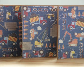 12 Construction Note Cards.  Dump Truck Card Set.  Tractor Card Set.  Construction Thank You Cards.  Construction Party Invitations