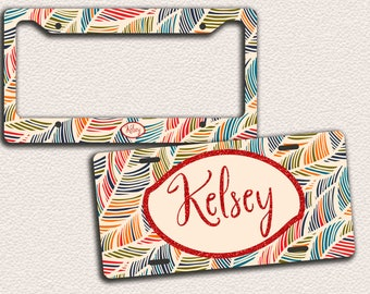 Abstract Pattern, colourful swirls, Elegant Gift, Car Tag, Bike Tag, Bike License Plate, License Plate Frame -monogrammed license plate,95