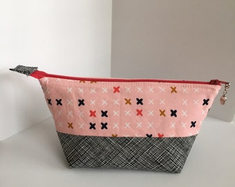 Pink X's Open-Wide Zipper Pouch, Project Bag, Cosmetic Bag, Knitting Pouch, Crochet Bag, Travel Pouch, Cotton and Steel, Gifts for Her