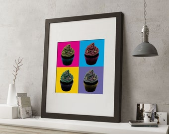 """LARGE 20""""x16"""" FRAMED Pop Art Cake Print, Black or White Frame/Mount, Cupcakes with bright colours"""