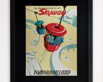 "LARGE 20""x16"" FRAMED Advertising Print, Black or White Frame/Mount, Disneyland, Tomorrowland"