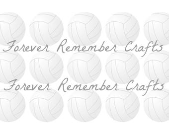 INSTANT DOWNLOAD Volleyball Editable 1 Inch Bottle Cap Image Sheets *Digital Image* 4x6 Sheet With 15 Images
