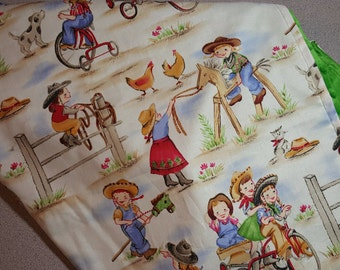 Cowgirl Minky Blanket / Choose Size and Color / Handmade Baby Toddler Child Shower Gift / Country Western Girl / Hobby Horse