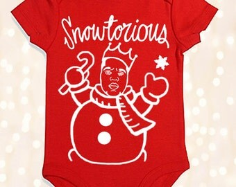 Funny Hip Hop Christmas Onesie Outfit for Baby Girl or Boy - Snowtorious Biggie