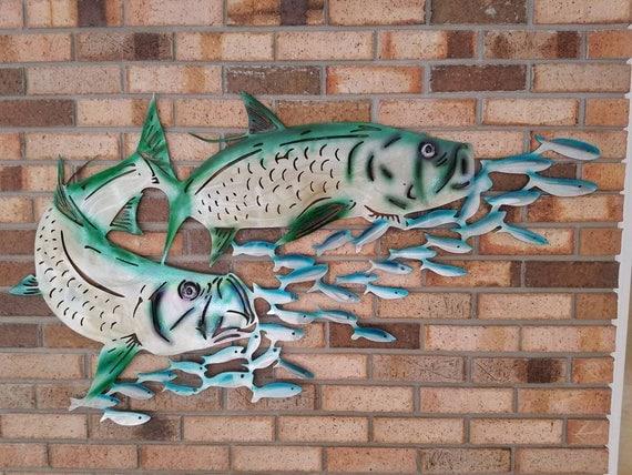 Aluminum Tarpon Wall Art, Metal Fish Art, Metal Ocean Art, Fishing Gift, Tropical Decor, Tropical Fish Art, Handmade Fish Art