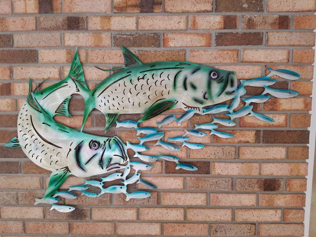 Aluminum tarpon wall art metal fish art metal ocean art for Fish metal wall art