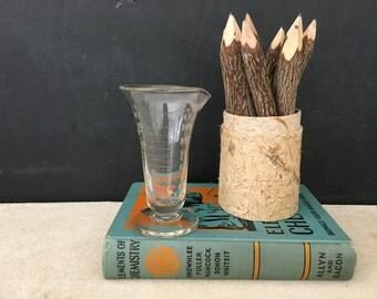 Graduated Beaker - Vintage Etched Glass Beaker - Lab Beaker - Medical - Science - Vase - Industrial - Repurpose Lab Beaker