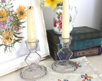 Pair of vintage clear glass candlestick holders