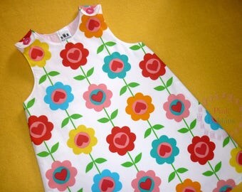 Retro floral girl's pinafore dress - fully lined, designer fabric - girl's summer outfit - baby's spring pullover - bright flower jumper
