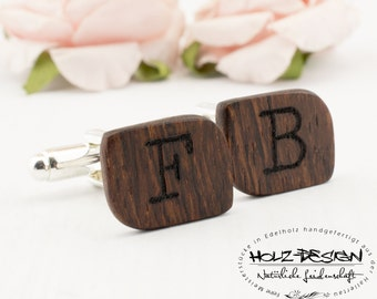 Personalized Rectangle Wood Cuff Links Mens Jewelry for rustic country wedding Gift for man Wood handmade