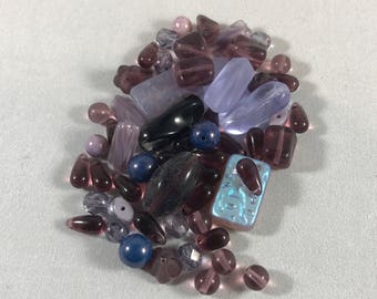 30+ grams of Assorted Purple Blue Moon beads