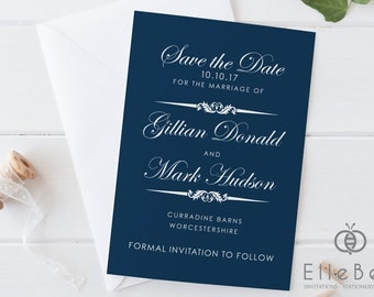 Classical Navy Save The Date Card // Classical Save The Date // Classic Wedding // Navy Wedding // Paddington Collection // Elle Bee Design