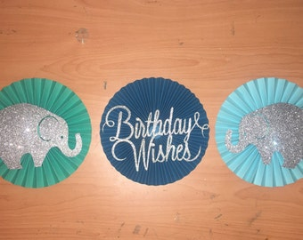 "3 blue ombre paper rosette "" birthday wished and elephants rosette"