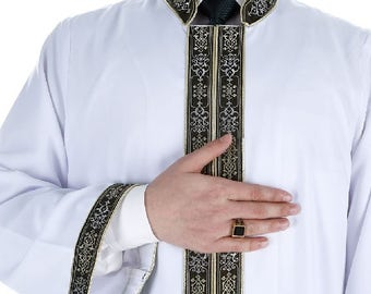 Zeysan Muslim Long Kurta XS, S, L, XL  Islamic Mens Wear, Bordured Thobe, Galabiyya, Jubbah, islamic wear, Muslim Tunic, Cubbe