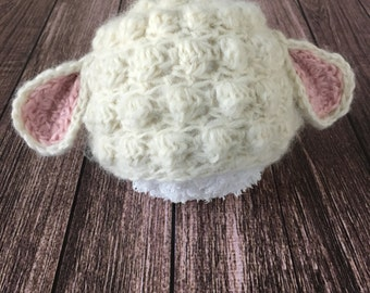 Made to Order Lamb Hat, Lamb, Newborn Bonnet, Newborn Hat, Newborn Photo Prop, Baby Bonnet, Lamb Bonnet, Lambie, Lamby, Newborn Photography