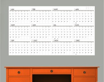 2017 CALENDAR - Jan to Dec - Large Dry Erase Wall Decals by GraphicsMesh