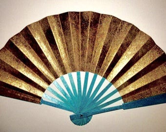 Gold Hand Fan-EXPRESS delivery 2-3 business days-Gold & Turquoise-SAVE on Shipping/Free Shipping on Second and Third items in this shop