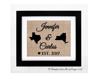 Long Distance Relationship Burlap Print, Personalized Wedding Gift, State Map, Engagement Gift, wedding gifts, Valentines Day for Girlfriend