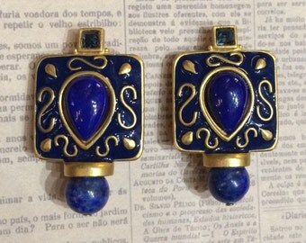 Lapis Lazuli Clip On earrings by Rima Ariss in gold plate
