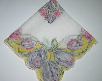 Vintage White And Yellow Floral Hankie, Hankderchief