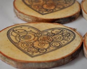 LOVE - Valentines day gift - love coasters - FREE SHIPPING valentines day - will you be my valentine -white birch coasters - white birch log
