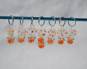 Snag Free Knit Markers - Stitch Markers - Tangerine Glass Beads