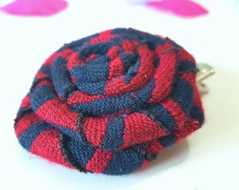 Red and Black Large Fabric Rose hair clip, Babywearing Wrap Scrap, Woven Wings Paddington, Rose, Hair Clip, Babywearing Gift