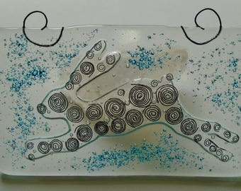 Fused Glass Running Hare plaque