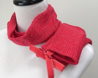 Girls Neckwarmer, Red Armwarmers for Girls, Gift for Girls, Red Arm Warmers, Cotton Cowl, Red Sparkle Cowl, Red Fingerless Gloves, ON SALE