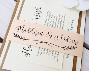 Rustic 'Maddison' Wedding Invitation bundle SAMPLE with RSVP and wish card