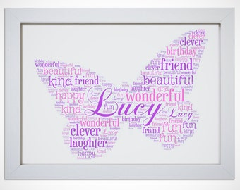 Personalised Name Butterfly Framed Word Art Picture Print Girls Gift