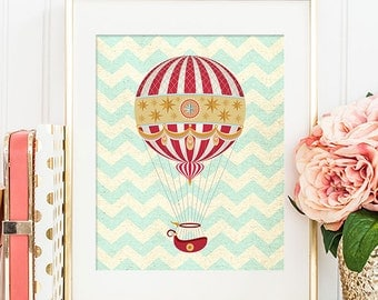 75% OFF SALE - Hot Air Balloon Print - 8x10 Nursery Art, Home Decor, Nursery Decor, Printable Art, Wall Art, Hot Air Balloon Decor
