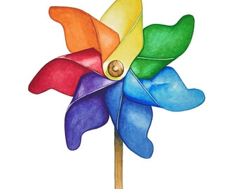 Watercolour Pinwheel Art Print