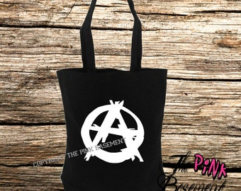 White Anarchy Metal Band Goth Gothic Bag Black Diaper Canvas Tote Grocery shopping purse handbag Girlfriend Sister Best Friend Gift Gifts