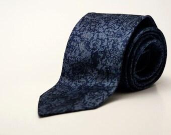 Vintage 1960's Men's Necktie by Beau Brummel - Retro, Mid Century, Mad Men - Motley Navy Blue Tie - Gifts for Him - 100% Silk